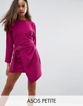 photo Batwing Mini Dress with Wrap Skirt by ASOS PETITE, color Purple - Image 1