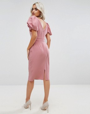 photo Puff Sleeve Midi Pencil Dress by ASOS PETITE, color Nude - Image 2