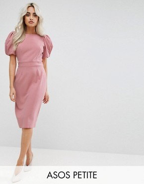 photo Puff Sleeve Midi Pencil Dress by ASOS PETITE, color Nude - Image 1