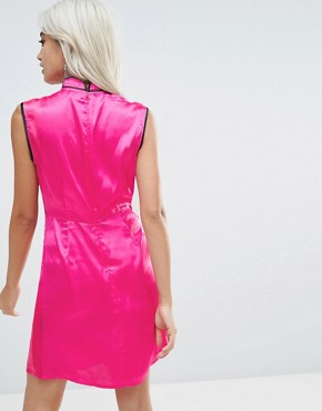 photo Oriental Satin Mini Dress by ASOS PETITE, color Pink - Image 2