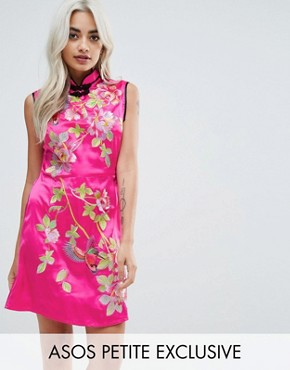 photo Oriental Satin Mini Dress by ASOS PETITE, color Pink - Image 1