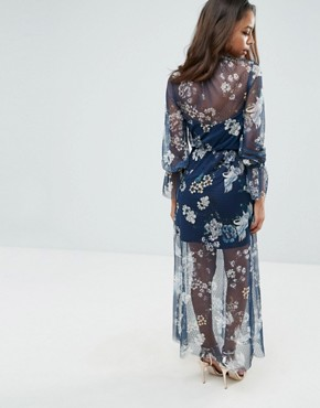 photo Printed Mesh Maxi Dress with Shirred Neck by ASOS PETITE, color Multi - Image 2