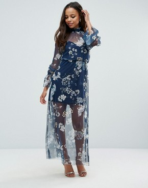 photo Printed Mesh Maxi Dress with Shirred Neck by ASOS PETITE, color Multi - Image 4
