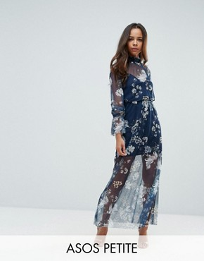 photo Printed Mesh Maxi Dress with Shirred Neck by ASOS PETITE, color Multi - Image 1