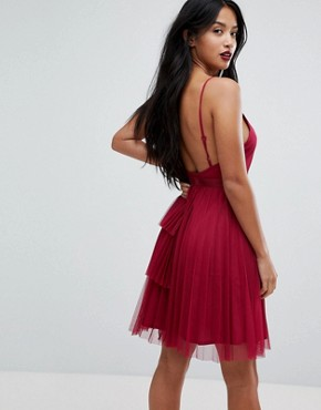 photo Tiered Mini Cami Dress with Zip Front by ASOS PETITE, color Red - Image 2