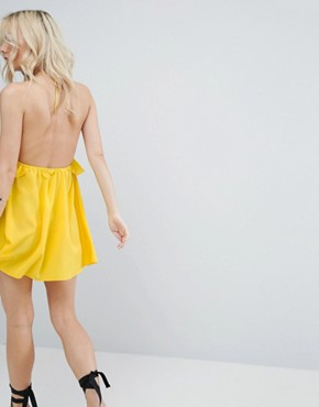 photo Beach Halter Sundress with Frill Detail by ASOS PETITE, color Yellow - Image 2