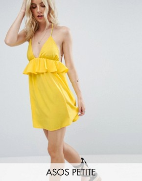 photo Beach Halter Sundress with Frill Detail by ASOS PETITE, color Yellow - Image 1
