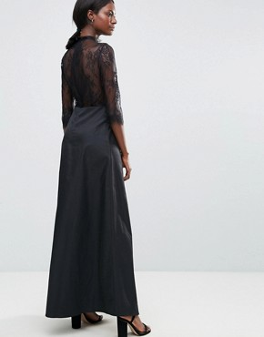photo High Neck Maxi Dress with Lace Insert by Y.A.S, color Black - Image 2