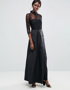 photo High Neck Maxi Dress with Lace Insert by Y.A.S, color Black - Image 1