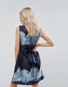 photo Mix Print Skater Dress by Yumi Petite, color Navy Floral - Image 2
