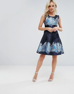 photo Mix Print Skater Dress by Yumi Petite, color Navy Floral - Image 4