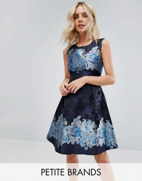 photo Mix Print Skater Dress by Yumi Petite, color Navy Floral - Image 1