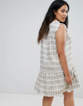 photo Drop Waist Boucle Dress by Elvi, color Cream - Image 2