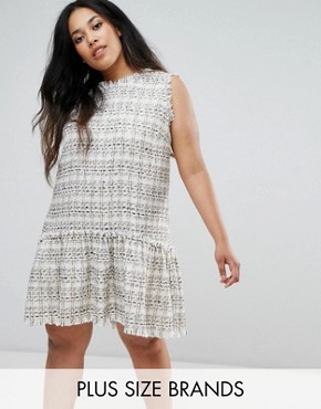 photo Drop Waist Boucle Dress by Elvi, color Cream - Image 1