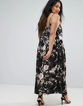 photo Rose Printed Velvet Midi Dress by Elvi, color Multi - Image 2