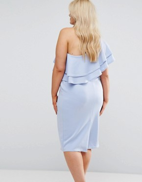 photo One Shoulder Double Ruffle Midi Bodycon Dress by ASOS CURVE, color Pale Blue - Image 2