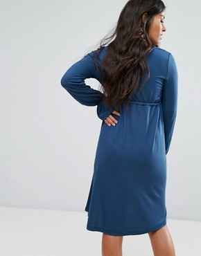 photo Jersey Skater Dress with Fluted Sleeve by Mamalicious, color Blue - Image 2