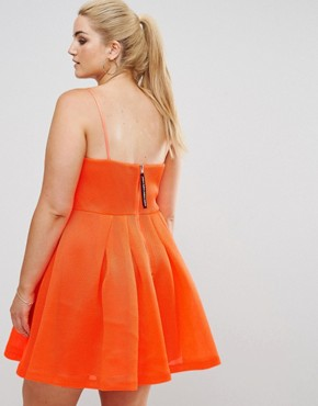 photo Neon Bonded Mesh Fan Front Mini Dress by ASOS CURVE, color Neon Orange - Image 2