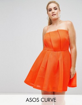 photo Neon Bonded Mesh Fan Front Mini Dress by ASOS CURVE, color Neon Orange - Image 1