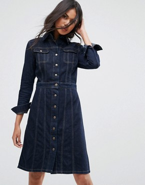 photo Button Through Authentic Denim Dress by Lee, color Rinse - Image 1