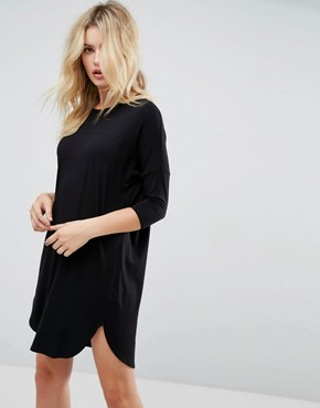 photo Oversize T-Shirt Dress with Seam Detail by ASOS, color Black - Image 1