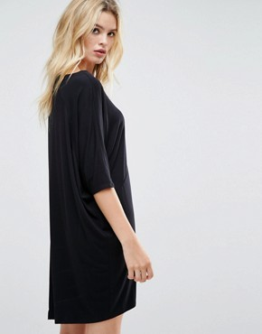 photo Oversize T-Shirt Dress with Raglan Sleeve by ASOS, color Black - Image 2