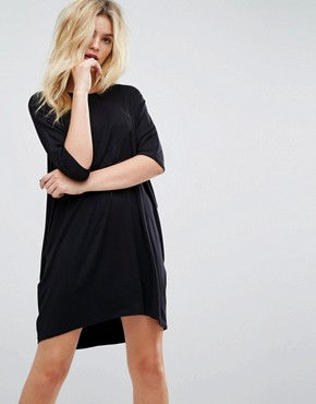 photo Oversize T-Shirt Dress with Raglan Sleeve by ASOS, color Black - Image 1