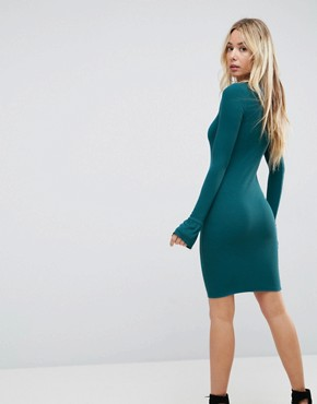 photo Mini Rib Bodycon Dress with Frill Cuffs by ASOS, color Green - Image 2