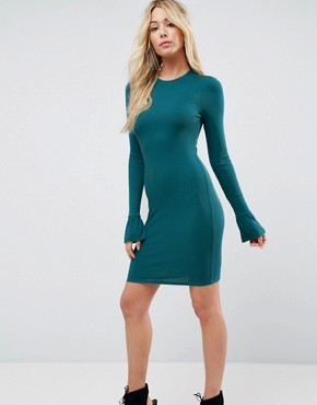 photo Mini Rib Bodycon Dress with Frill Cuffs by ASOS, color Green - Image 1