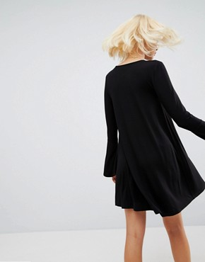photo Mini Swing Dress with Seam Detail and Trumpet Sleeve by ASOS, color Black - Image 2