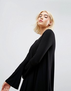 photo Mini Swing Dress with Seam Detail and Trumpet Sleeve by ASOS, color Black - Image 3