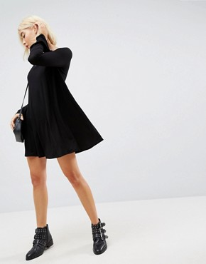 photo Mini Swing Dress with Seam Detail and Trumpet Sleeve by ASOS, color Black - Image 4
