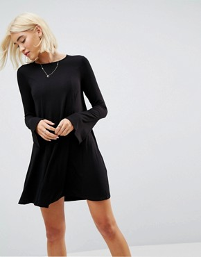 photo Mini Swing Dress with Seam Detail and Trumpet Sleeve by ASOS, color Black - Image 1