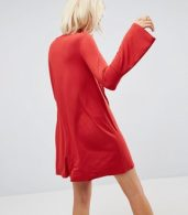 photo Mini Swing Dress with Seam Detail and Trumpet Sleeve by ASOS, color Red - Image 2