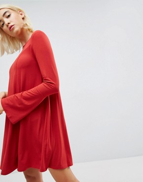 photo Mini Swing Dress with Seam Detail and Trumpet Sleeve by ASOS, color Red - Image 3