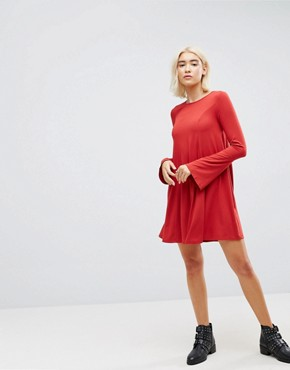 photo Mini Swing Dress with Seam Detail and Trumpet Sleeve by ASOS, color Red - Image 4