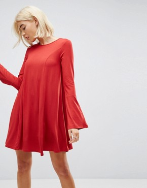 photo Mini Swing Dress with Seam Detail and Trumpet Sleeve by ASOS, color Red - Image 1