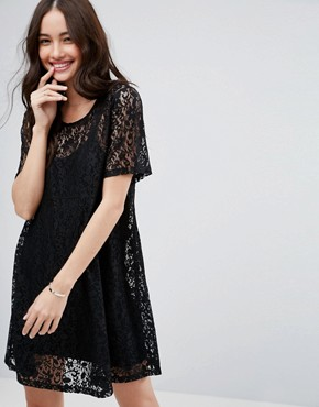 photo Mini Lace T-Shirt Dress by ASOS, color Black - Image 1