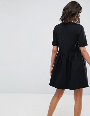 photo Mini Ultimate Cotton Smock Dress by ASOS, color Black - Image 2