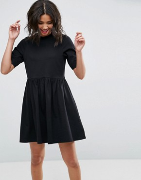 photo Mini Ultimate Cotton Smock Dress by ASOS, color Black - Image 1