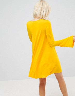 photo Mini Swing Dress with Seam Detail and Trumpet Sleeve by ASOS, color Mustard - Image 2