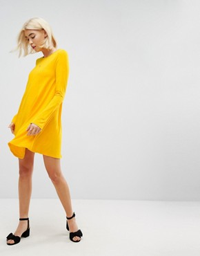 photo Mini Swing Dress with Seam Detail and Trumpet Sleeve by ASOS, color Mustard - Image 4