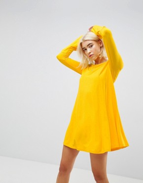 photo Mini Swing Dress with Seam Detail and Trumpet Sleeve by ASOS, color Mustard - Image 1