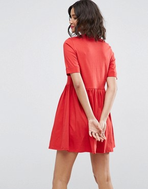 photo Mini Ultimate Cotton Smock Dress by ASOS, color Red - Image 2