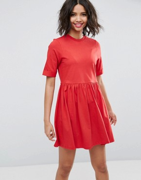 photo Mini Ultimate Cotton Smock Dress by ASOS, color Red - Image 1