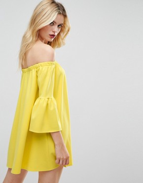 photo Off Shoulder Dress with Bell Sleeve by ASOS, color Yellow - Image 2