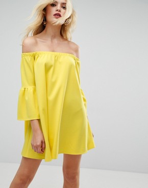 photo Off Shoulder Dress with Bell Sleeve by ASOS, color Yellow - Image 1