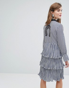 photo Midi Tiered Shirt Dress with Ruffles & Patches in Stripe by Sister Jane, color Blue - Image 2