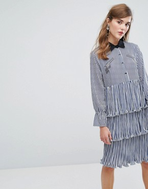 photo Midi Tiered Shirt Dress with Ruffles & Patches in Stripe by Sister Jane, color Blue - Image 1