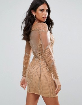 photo Long Sleeved Embellished Bodycon Dress by Forever Unique, color Rose Gold - Image 2